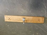 Coat rack (oak?) one hook, 2ft