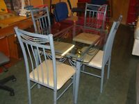 Glass Topped Dining Table and 4 Chairs