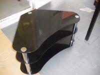 BLACK GLASS CORNER TV STAND NEW LOWER PRICE (WAS £25)