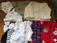 Newborn sleepsuits, cardigans, hats etc