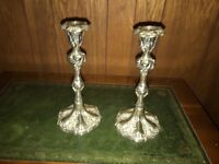 Vintage Silver plated candlesticks good condition.
