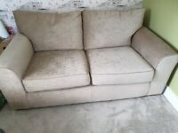 Large beige 2 seater velour sofa