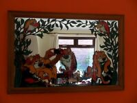 1970s Retro Nursery or Childrens Bedroom Painted Mirror Tiger Lion Cheetah
