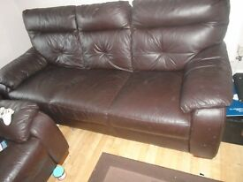 choclate brown 3 seater leather