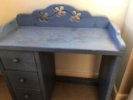 Hand carved blue wooden dressing table and stool