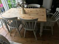 Chunky Farmhouse table and chairs Laura Ashley painted