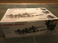 Morphy Richards Equip - 5 piece pour and drain pots and pans set boxed as new