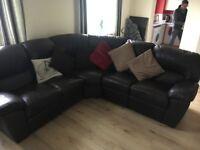 Brown Italian leather reclining corner sofa