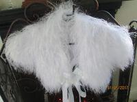 GIRLS WHITE FLUFFY LONG EYELASH BOLERO, RIBBON TIE,3/4 BNWT