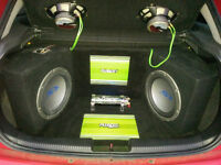 Alpine S Type Subs, Fusion amplifiers, Power Cap, Custom install for Ford focus (Will fit all cars)