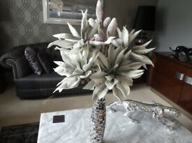 Flower arrangement and mirrored glass tall vase. 100cm high in total. Selling both for £20.