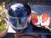 arashi xs full face helmet and rhino gloves