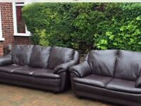 Brown leather sofas, vgc could deliver