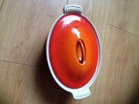 Vintage Le Creuset Oval Casserole dish. Volcanic orange 22
