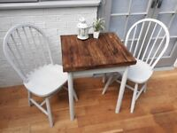 Lovely Bistro Dining Table. Reclaimed & Solid Oak and 2 x Chairs. Chalk Paint. Upcycled/Shabby Chic.