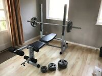 York fitness B540 2 in 1 weights bench. Golds Gym barbell. Cast iron trigrip weights total 85kg.