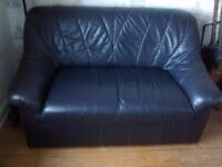 dark grey leather 2 seater sofa