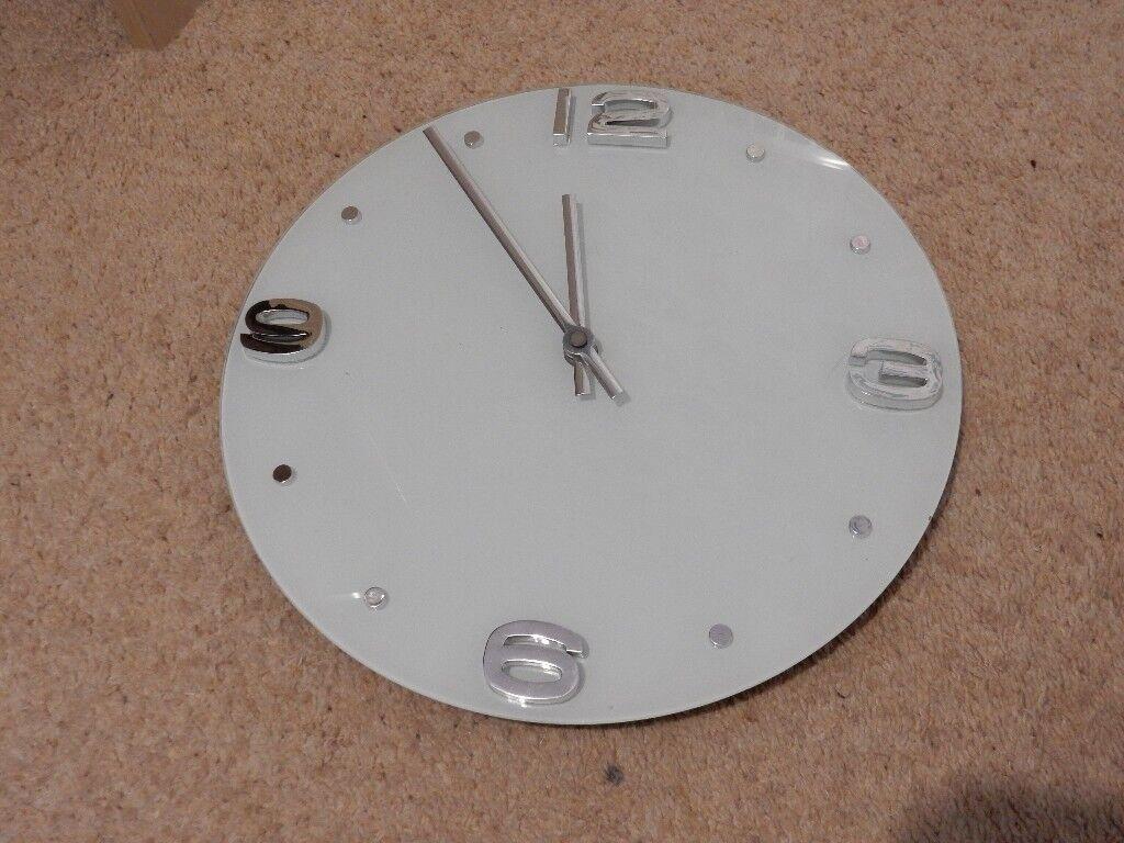 """Wall Clock - Opaque Glass 12"""" Diameter"""