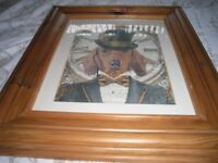 PINE GLASS FRAMED PRINT, STEAMPUNK DAPPER DOG, ALSO FREE WALL ART