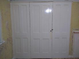 3-panel wooden doors of built in wardrobe
