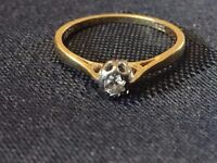 VINTAGE 18CT GOLD DIAMOND SOLITAIRE RING SIZE L