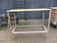 WORKBENCH / TABLE METAL BASE WITH A WOOD TOP, 42INCHES LONG,33 INCHES HIGH, GOOD USED CONDITION £30