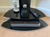 """TV STAND WITH 2 BLACK GLASS SHELVES FOR 40"""" TV MAX"""