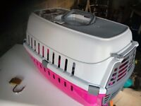 Cat or small dog carrier pink and grey with padded floor vgc