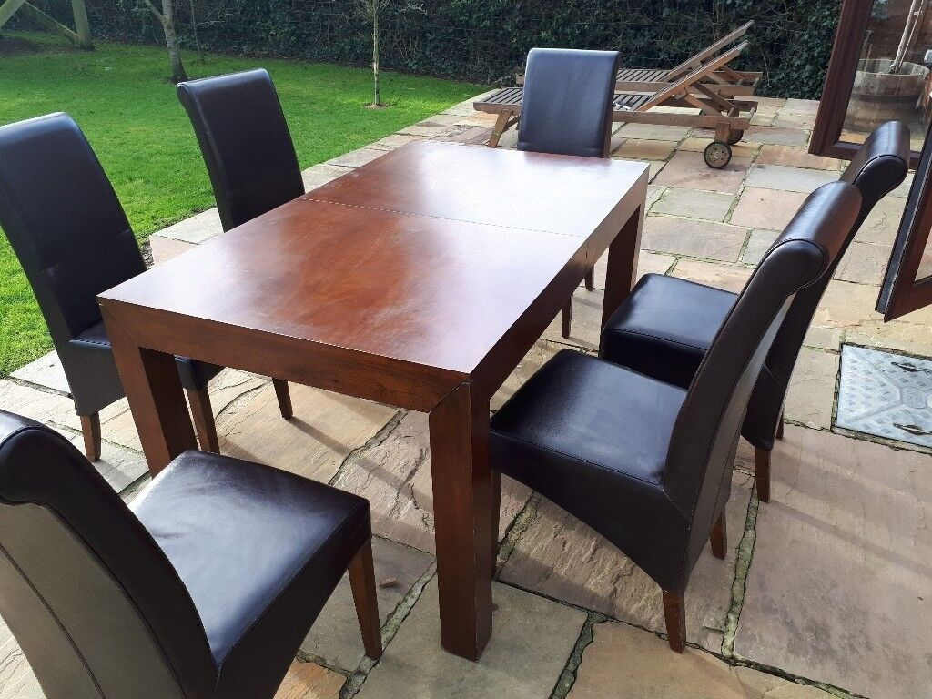 Extending Wooden Dining Table And 6 Leather Chairs Medium Dark Wood