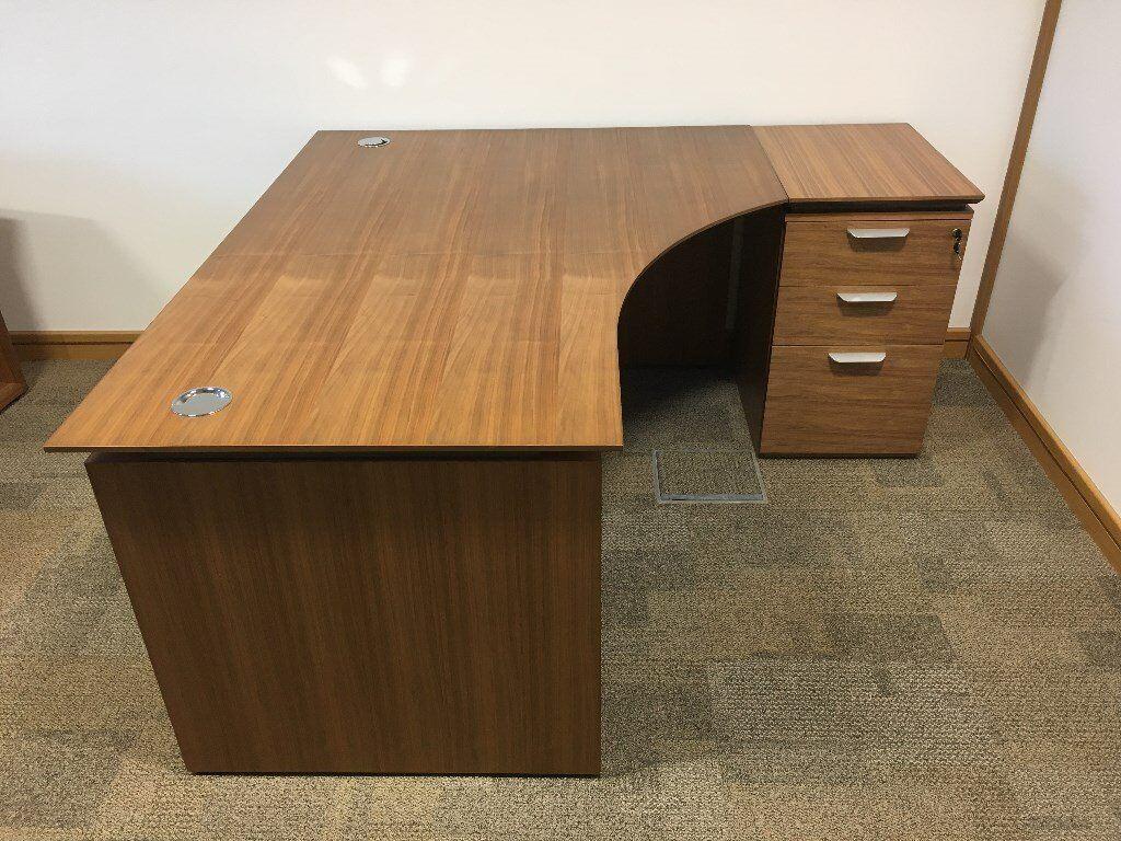 1 6m X 62m Eborcraft Zenith Office Desk Drawers American Black Walnut Finish