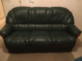 3 Seater, 2 Seater and 1 Armchair, Green Italian Leather, good condition