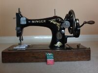 Sewing Machine, Singer, hand-cranked, 1960's, lovely condition.