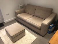 Matching 3 seater sofa bed and storage footstool