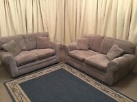 Beige 2 Piece Suite 3 & 2 Seater Sofas Modern Settees