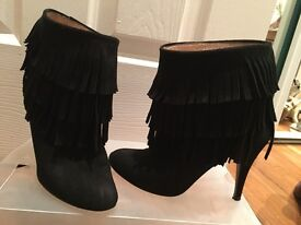 Size 2 Suede Black Fringed Ankle Boots