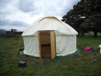 Yurt 5 metres, cream R&W 14oz canvas, Ash planed poles, sun roof, small wood stove & flue fitting. for sale  Stroud, Gloucestershire