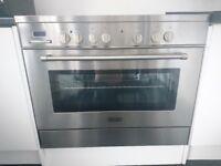 delonghi range cooker electric fan oven ceramic hob in stainless Steel