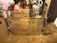 Glass television stand with 3 glass shelves