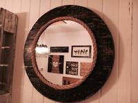 Round Reclaimed Cable Drum Mirror
