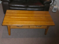 Solid oak coffee table and media cabinet