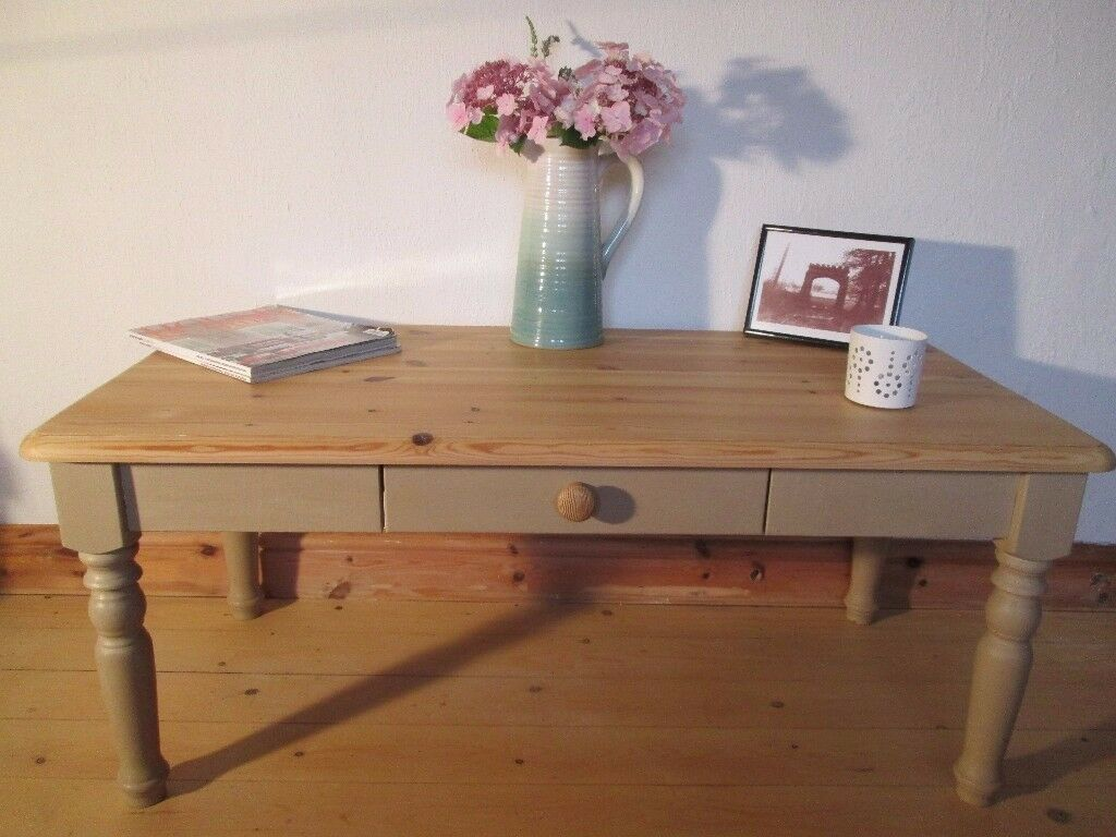 Shabby Chic Solid Pine Farmhouse Style Coffee Table. Annie Sloan Country Grey