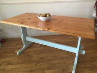 6 seater solid pine farmhouse kitchen dining table