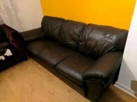 3 seater black leather sofa