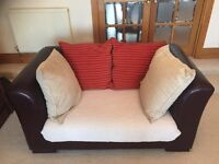 Genuine Spanish Imported Leather/Fabric Corner Settee & 2 Seater Settee