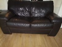 Leather Sofa, Brown-3 seater & 2 Seater