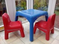 Child's table with two chairs. My grandchildren of 5 and 6 have grown out of it.