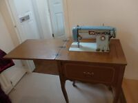 Vintage Brother sewing machine, built into table