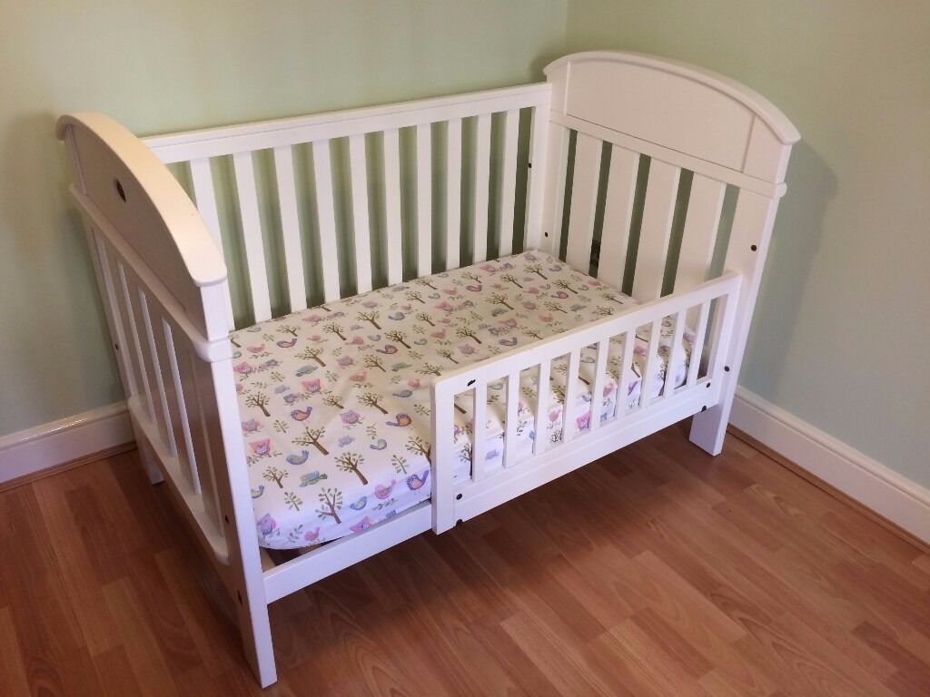 White Boori Country Madison Cot Bed Inc Toddler Guard Rail