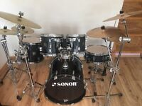 Sonor Force 3003 Drum Kit with huge hardware, cymbals and accessories bundle