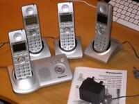 4 Panasonic digital cordless phones with answering machine